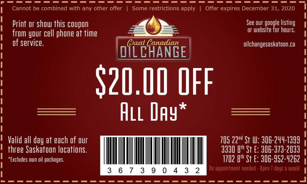 All Day $20 OFF Oil Change